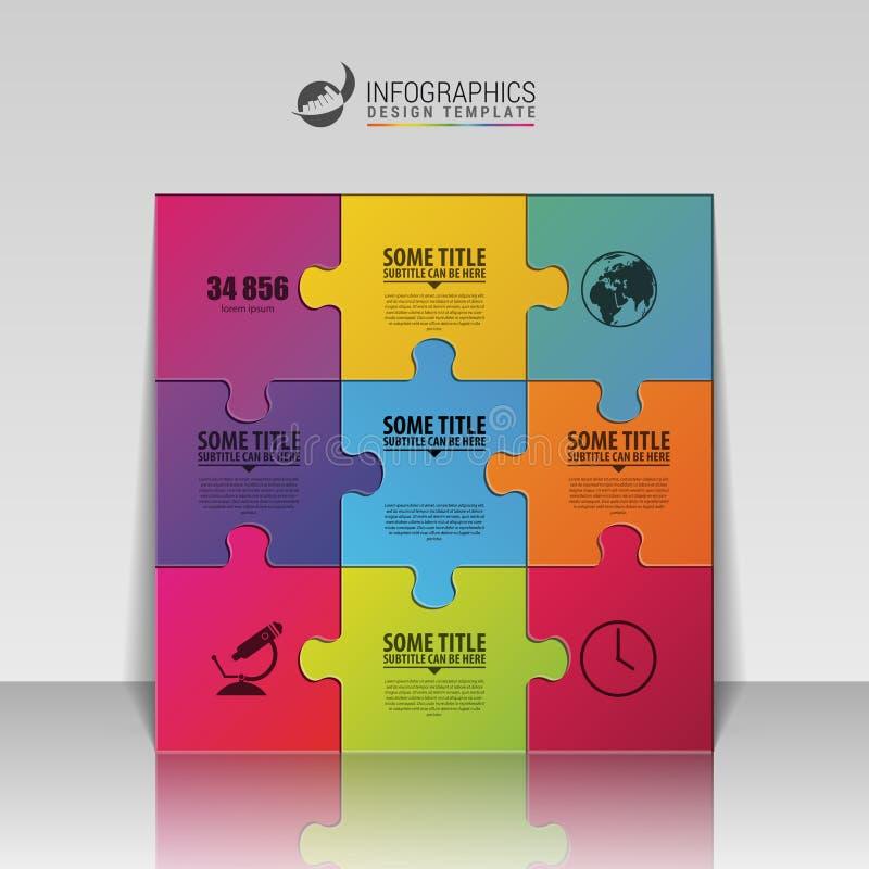 Infographic designmall för pussel äganderätt för home tangent för affärsidé som guld- ner skyen till vektor stock illustrationer