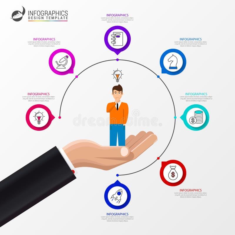 Infographic designmall Idérikt begrepp med 7 moment stock illustrationer