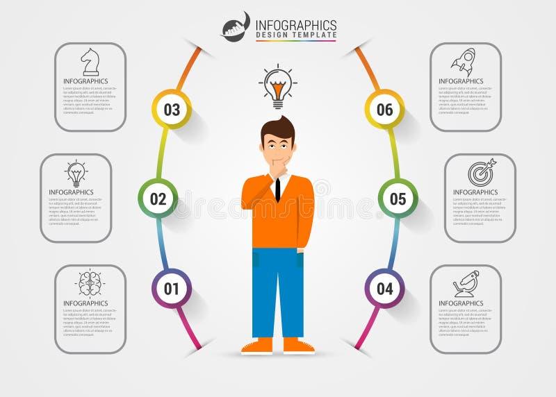 Infographic designmall Idérikt begrepp med 6 moment royaltyfri illustrationer