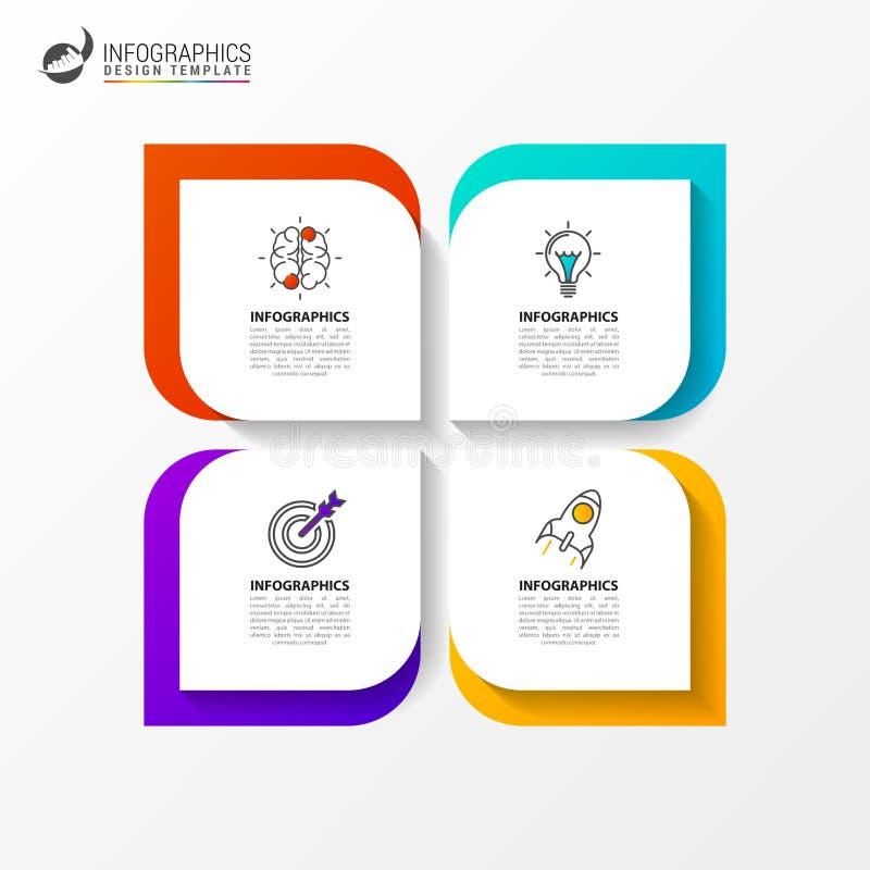 Infographic designmall Idérikt begrepp med 4 moment stock illustrationer