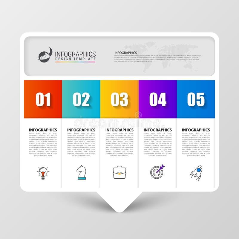 Infographic designmall Idérikt begrepp med 5 moment vektor illustrationer