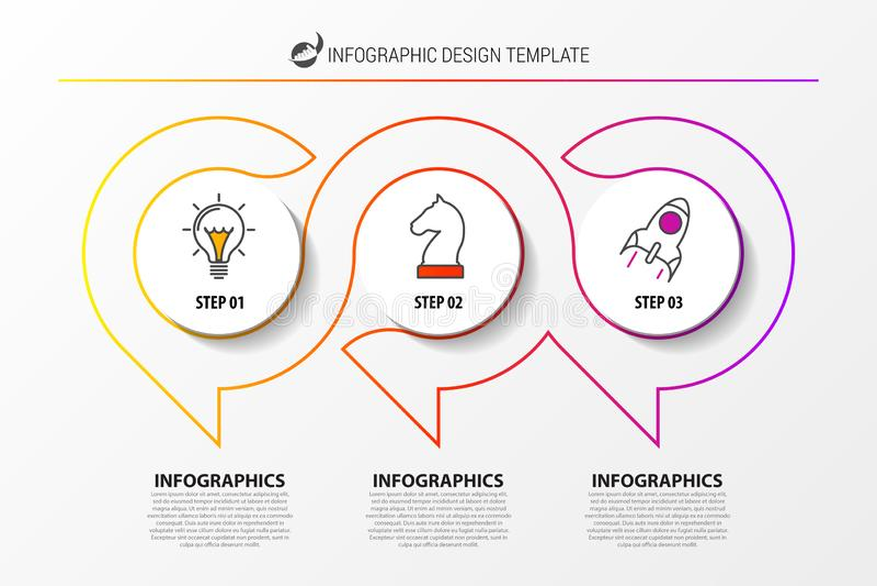 Infographic designmall Idérikt begrepp med 3 moment royaltyfri illustrationer