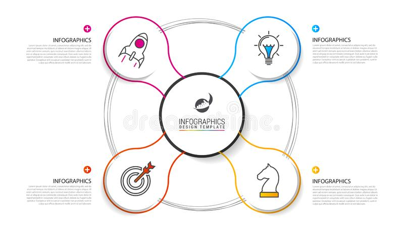 Infographic designmall Idérikt begrepp med 4 moment royaltyfri illustrationer