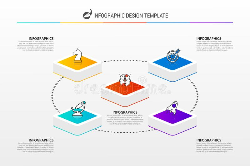 Infographic designmall Idérikt begrepp med 5 moment stock illustrationer