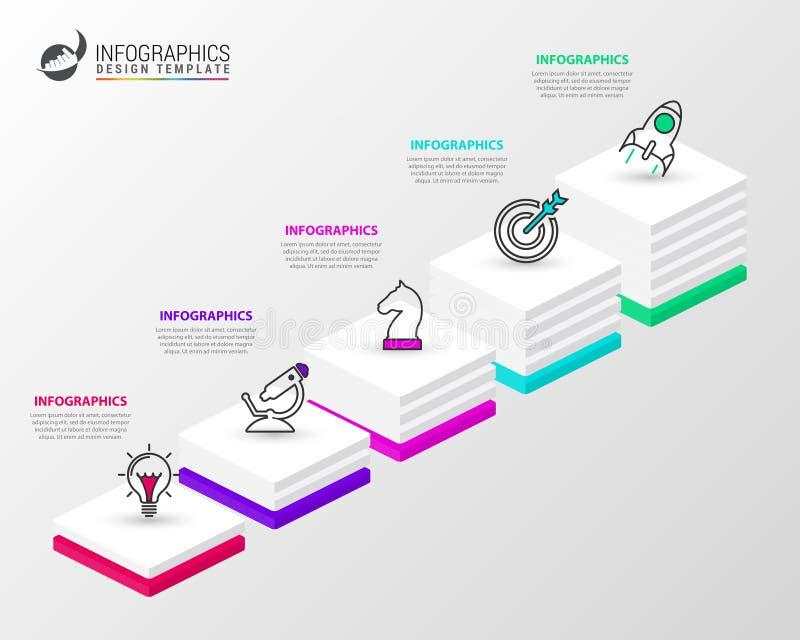 Infographic designmall Idérikt begrepp med 5 moment royaltyfri illustrationer