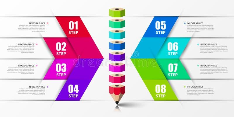Infographic designmall Idérikt begrepp med 8 moment Kan användas för workfloworienteringen, diagrammet, banret, webdesign vektor stock illustrationer