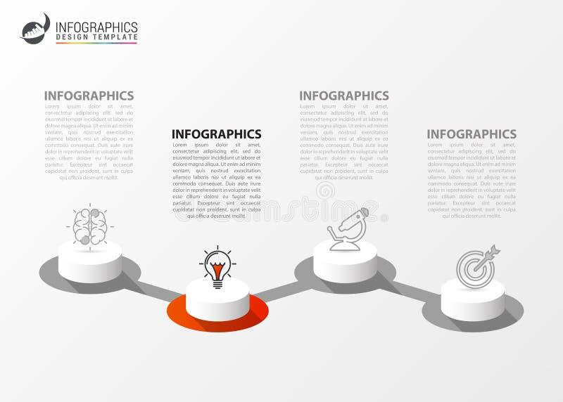 Infographic designmall Id?rikt begrepp med 4 moment royaltyfri illustrationer