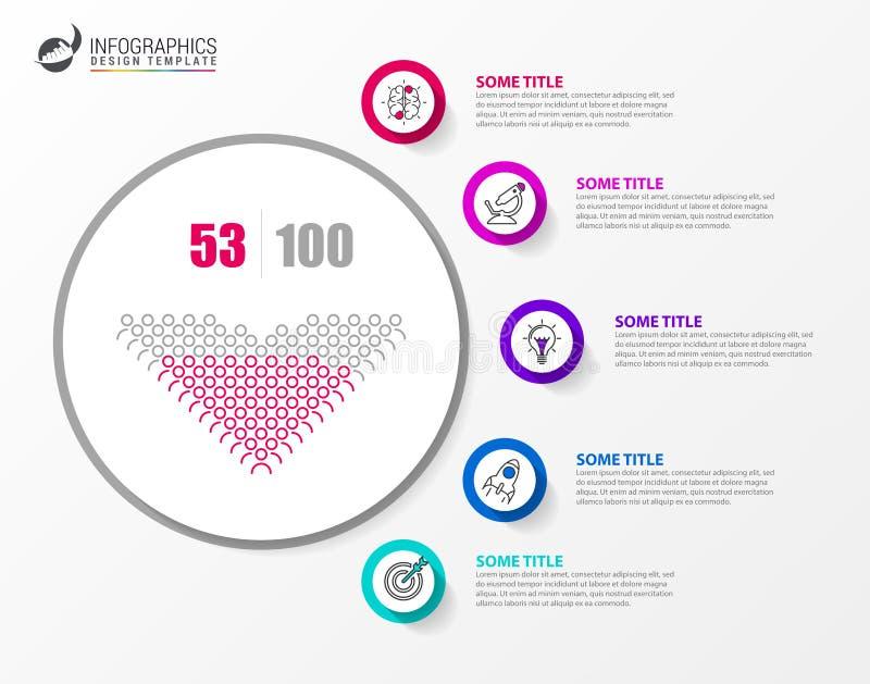 Infographic designmall Id?rikt begrepp med 5 moment royaltyfri illustrationer