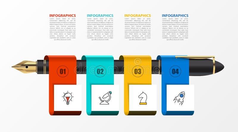 Infographic designmall Id?rikt begrepp med 4 moment vektor illustrationer