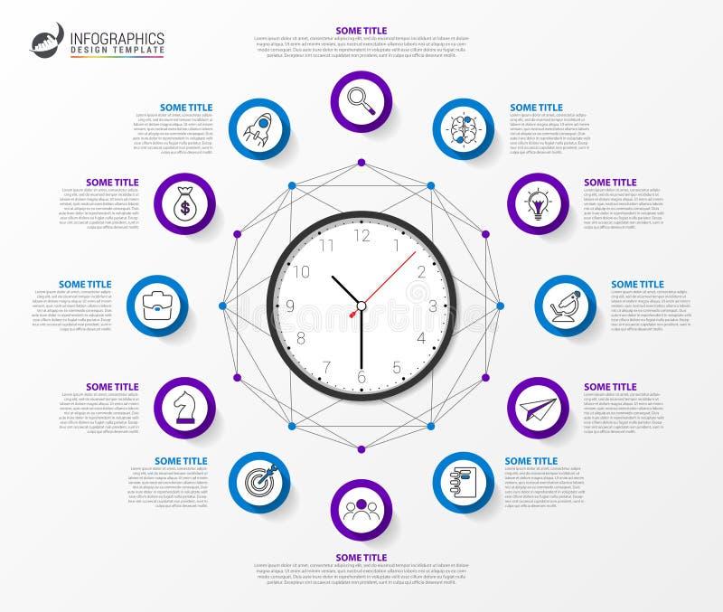 Infographic designmall Id?rikt begrepp med 12 moment royaltyfri illustrationer