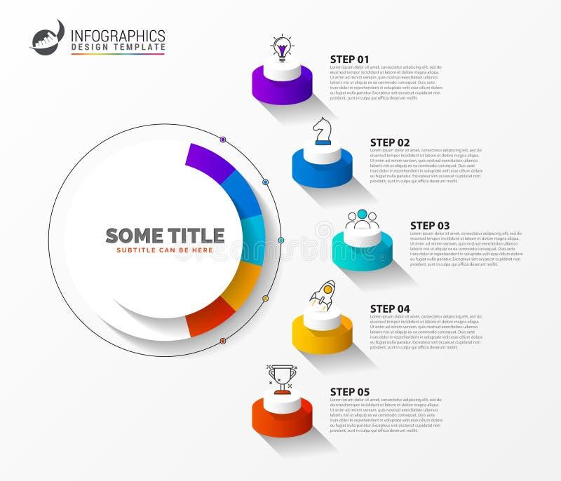 Infographic designmall Id?rikt begrepp med 5 moment vektor illustrationer