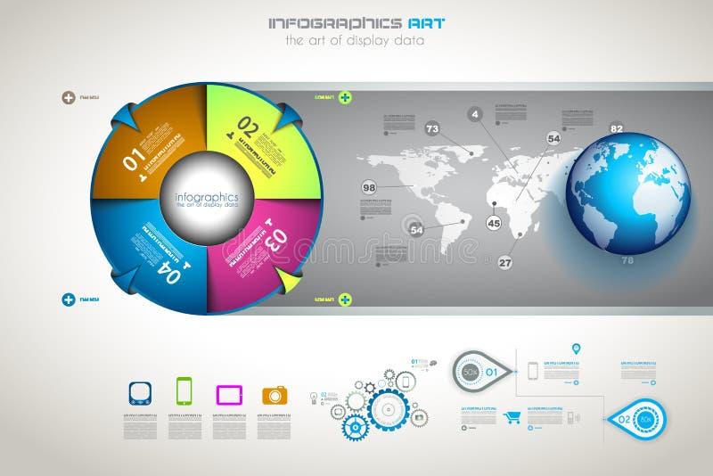 Infographic designmall med modern plan stil vektor illustrationer