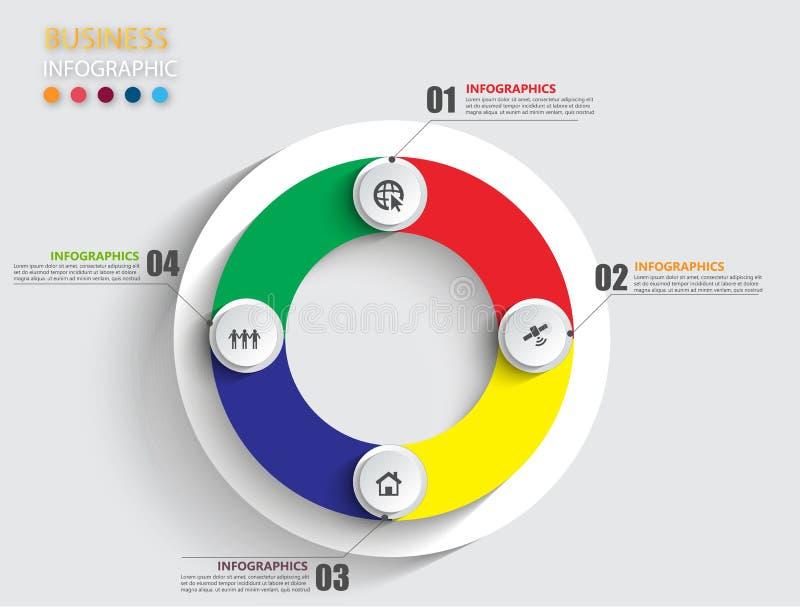 Infographic designmall och affärsidé med 4 alternativ stock illustrationer