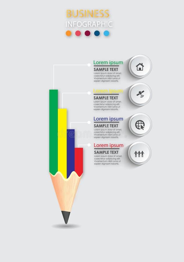 Infographic designmall och affärsidé med blyertspennan stock illustrationer