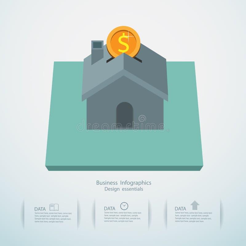 Infographic designmall och pengarbesparingplanläggning royaltyfri illustrationer