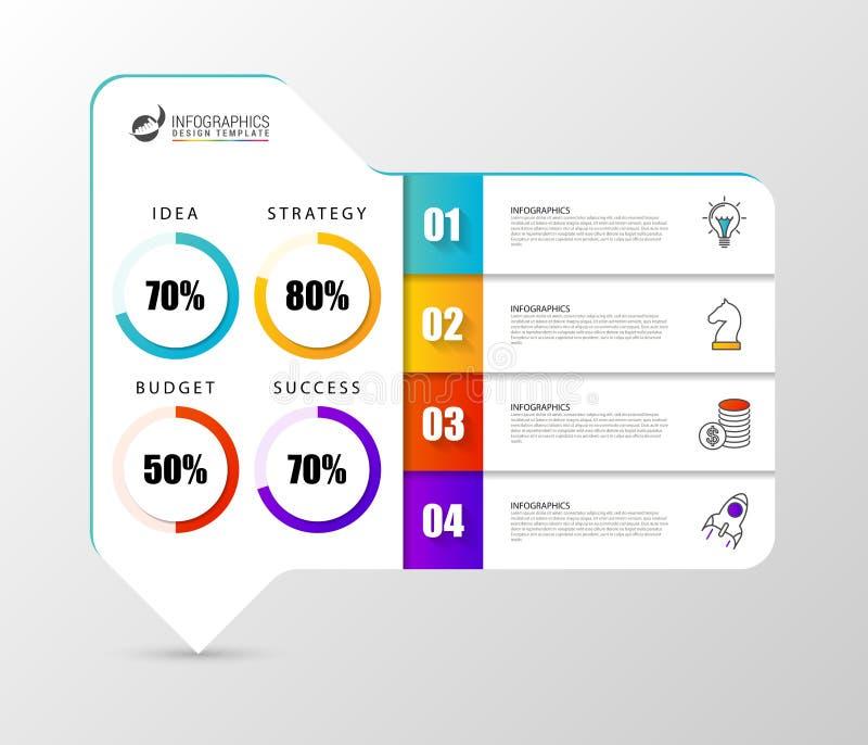 Infographic designmall Organisationsdiagram med 4 moment royaltyfri illustrationer