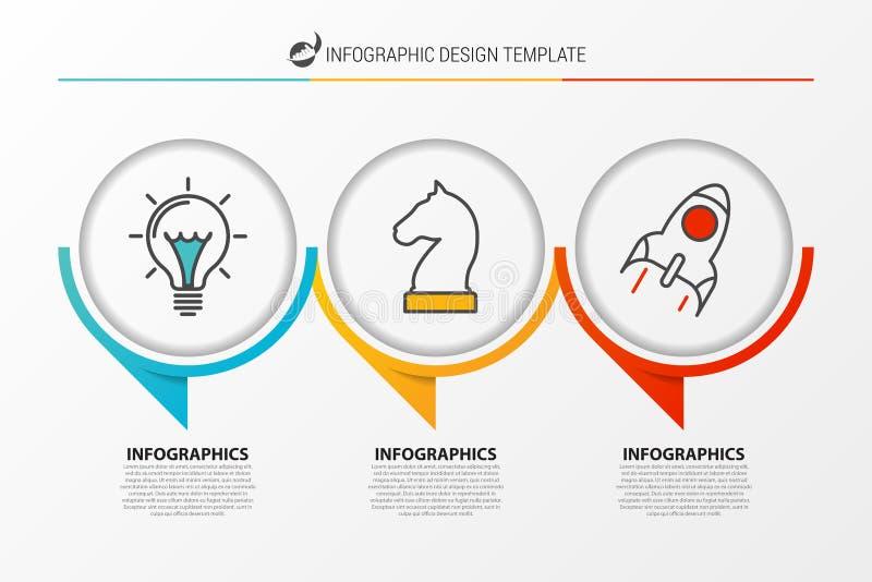 Infographic designmall Organisationsdiagram med 3 moment vektor illustrationer