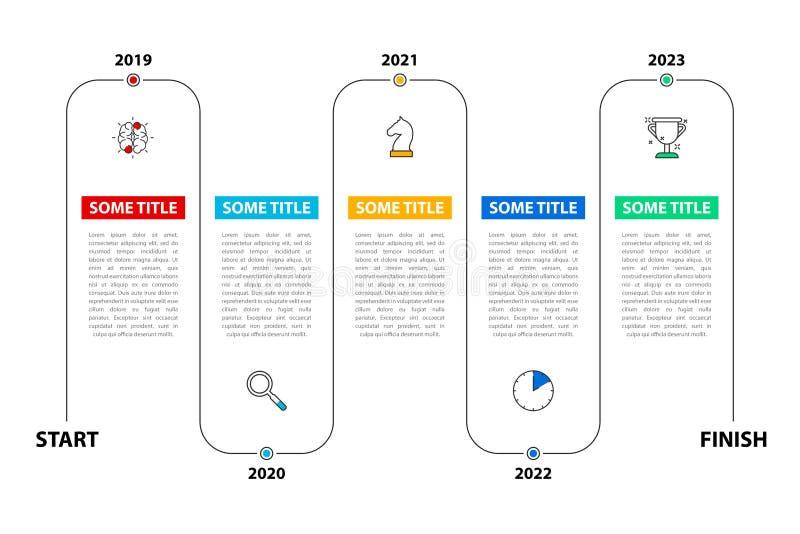 Infographic designmall Timelinebegrepp med 5 moment vektor illustrationer