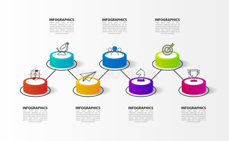 Infographic designmall Timelinebegrepp med 7 moment vektor illustrationer