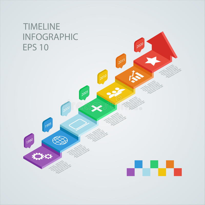 Infographic Designschablone der isometrischen Zeitachse Auch im corel abgehobenen Betrag stock abbildung