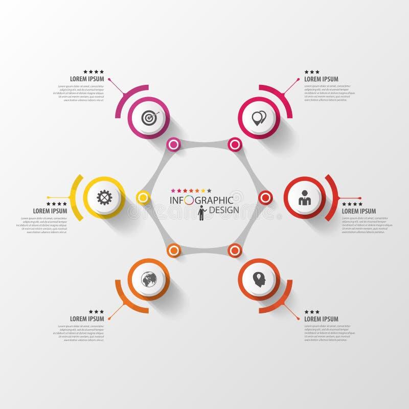 Infographic Designschablone des abstrakten Hexagons mit Kreisen lizenzfreie abbildung