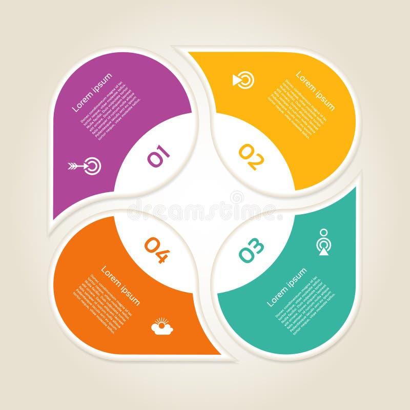 Infographic Designschablone des Vektors Geschäftskonzept mit 4 Wahlen, Teilen, Schritten oder Prozessen Kann für Arbeitsflussplan stock abbildung