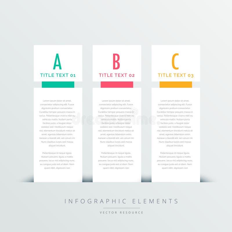 Infographic Designschablone mit drei vertikalen Fahnen stock abbildung
