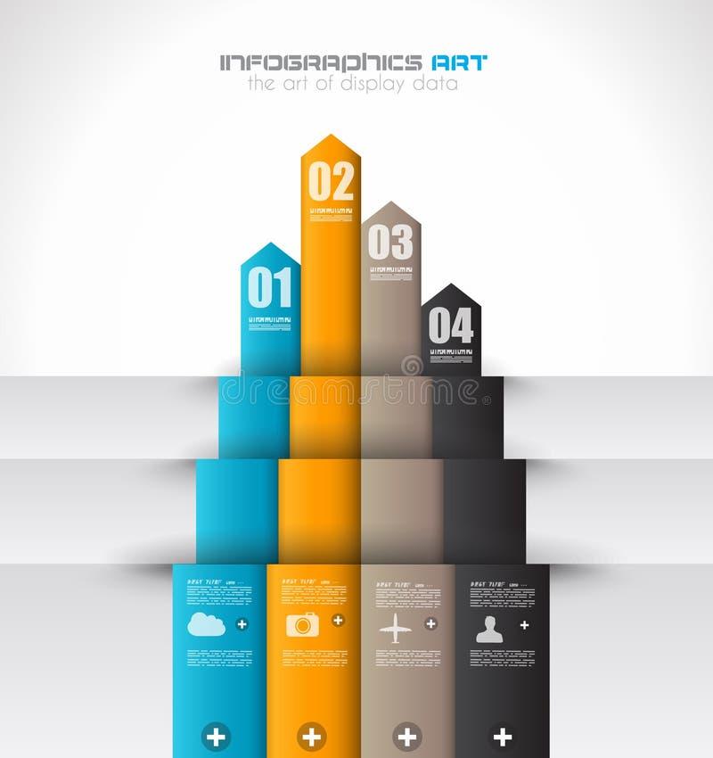 Infographic-Designschablone mit Papiertags. stock abbildung