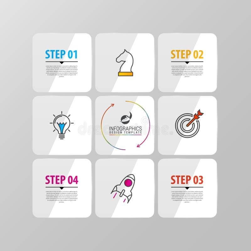 Infographic-Designschablone mit 4 Schritten Vektor vektor abbildung