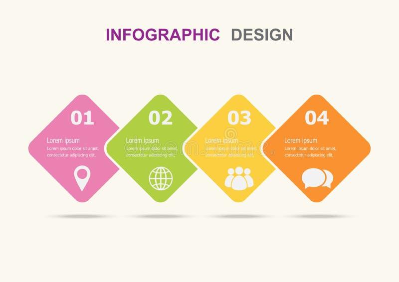 Infographic-Designschablone mit vier Schritten lizenzfreie abbildung