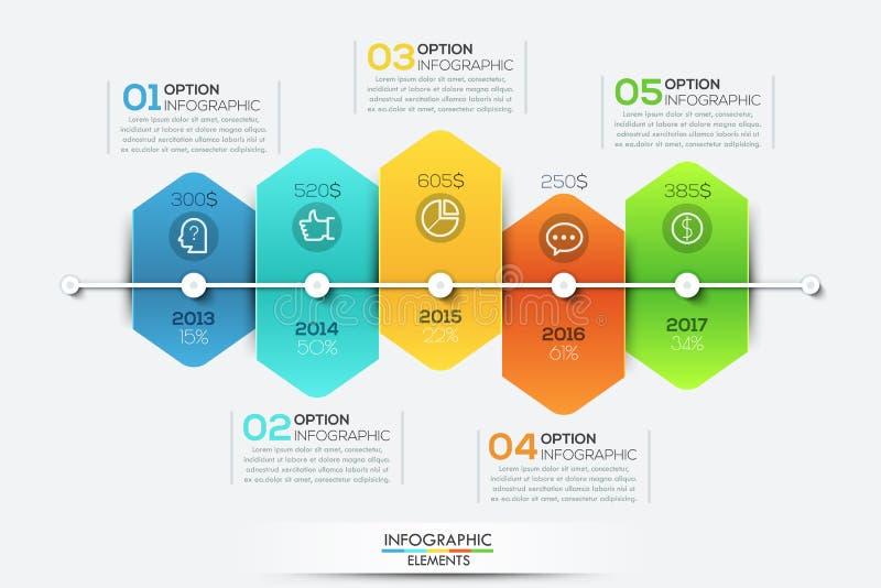 Infographic-Designschablone mit Zeitachse und 5 schlossen sechseckige Elemente an vektor abbildung