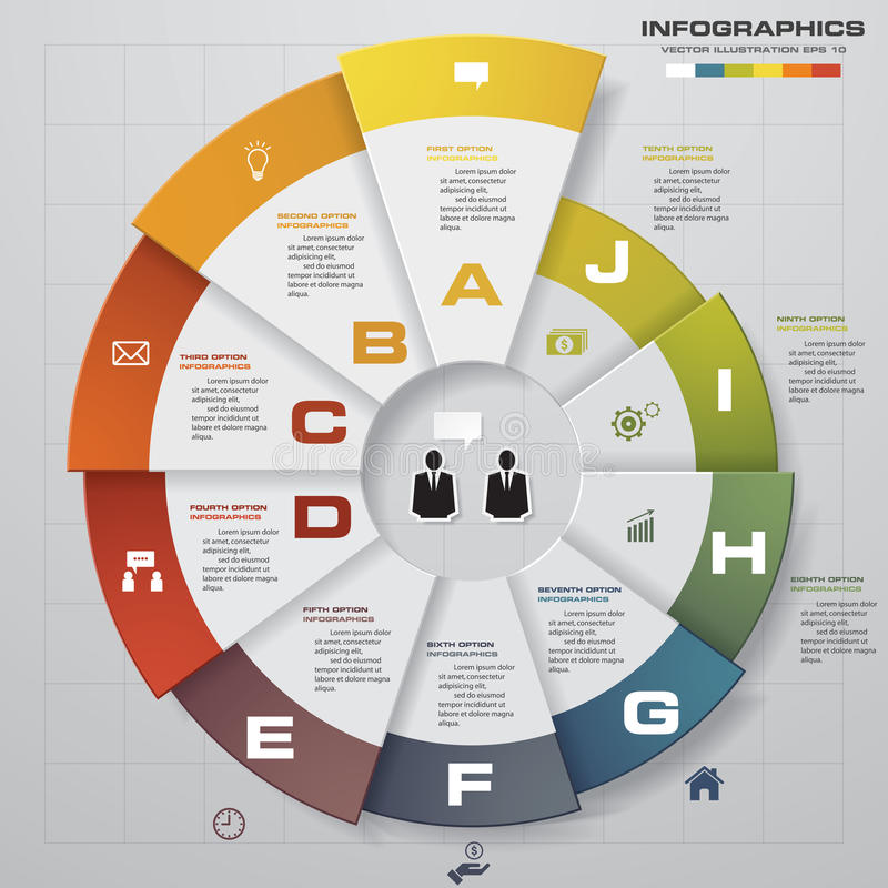Infographic-Designschablone und Geschäftskonzept mit 10 Wahlen, Teilen, Schritten oder Prozessen vektor abbildung