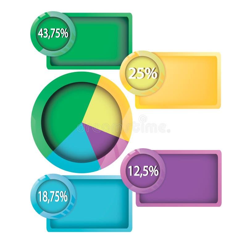 Infographic-Designvektor- und -marketing-Ikonen können für Arbeitsflussplan benutzt werden vektor abbildung
