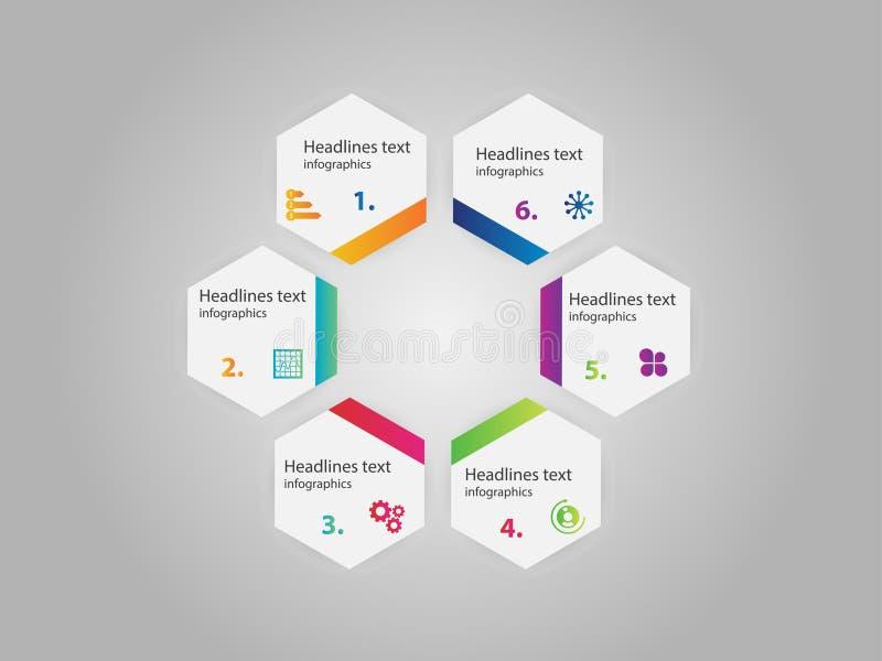 Infographic-Designvektor- und -marketing-Ikonen können für Arbeitsflussplan benutzt werden stock abbildung
