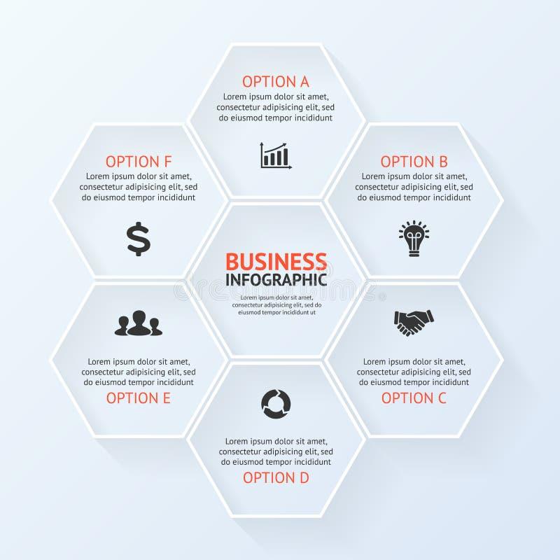 Infographic, diagram, presentatie 6 opties stock illustratie