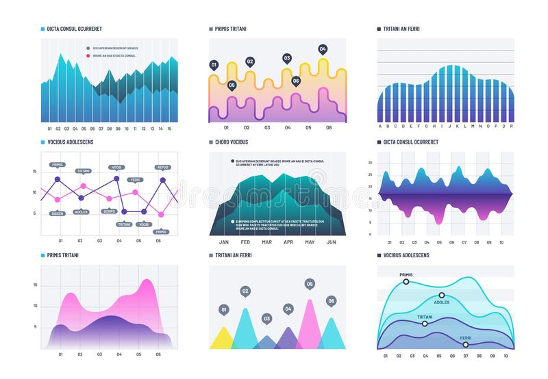 Infographic diagram. Statistics bar graphs, economic diagrams and stock charts. Marketing infographics vector elements royalty free illustration