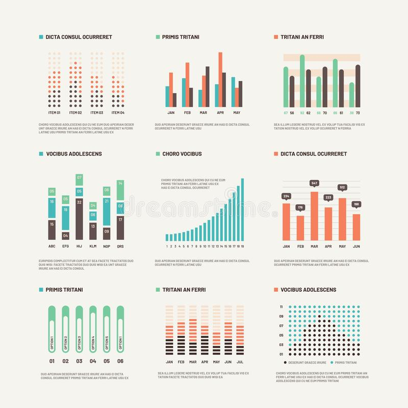 Infographic Diagrama del márketing de la disposición del flujo de trabajo Cartas de la estadística e infocharts comunes Sistema a ilustración del vector