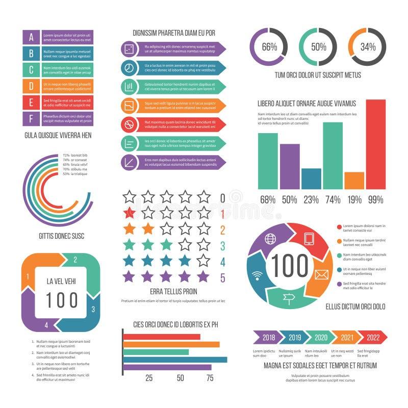 Infographic Diagramma moderno di vendita di flusso di lavoro Grafici di statistica e infocharts di riserva Rapporto di presentazi illustrazione di stock