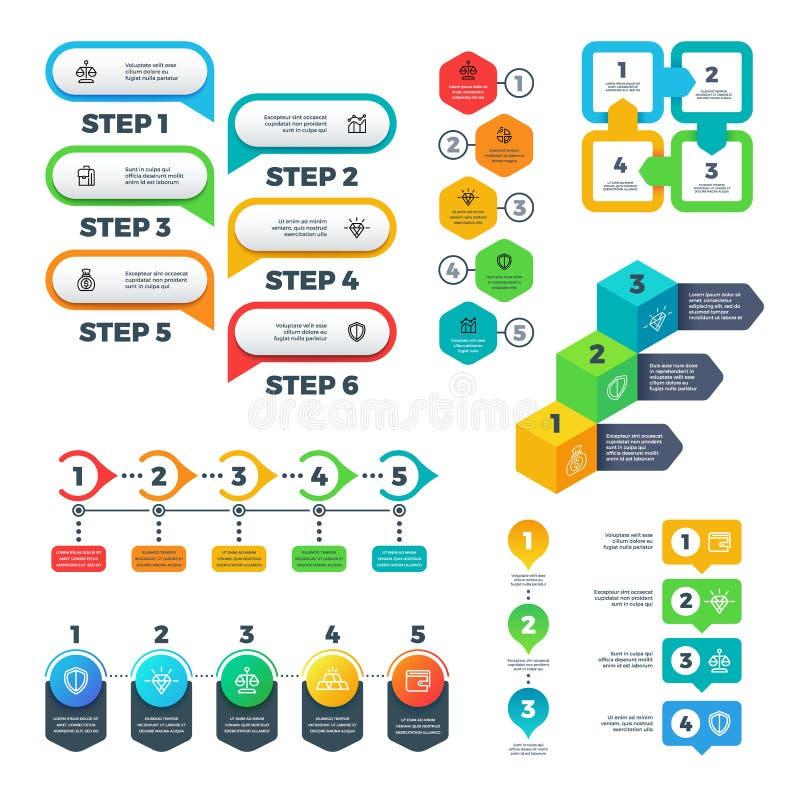 Infographic-Diagramme Balkendiagramme, Schritte und Wahlelemente, Flussdiagrammdiagramme und Zeitachse Nützlicher Vektorsatz vektor abbildung