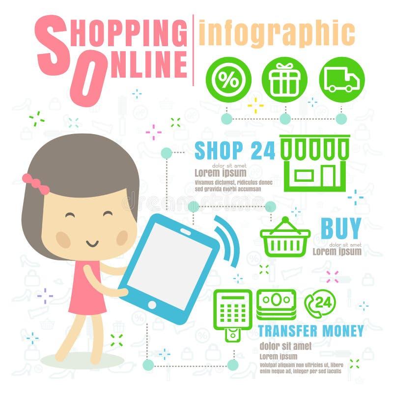 Infographic die online winkelen concepten vectorillustratie op whi stock illustratie
