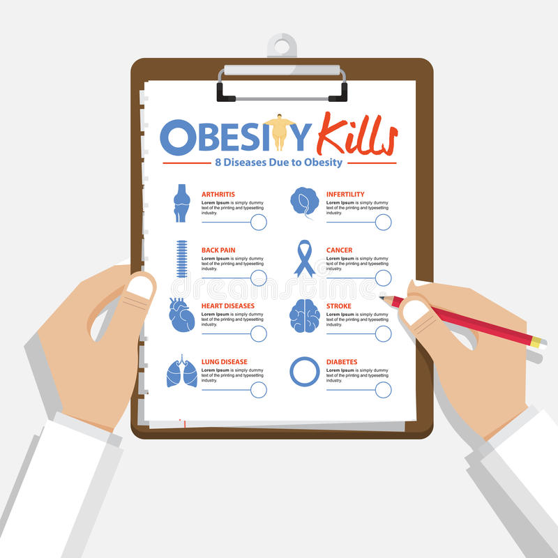 Infographic for 8 Diseases due to obesity in flat design. Doctor's hand holding clipboard. Medical and healthcare report. stock illustration