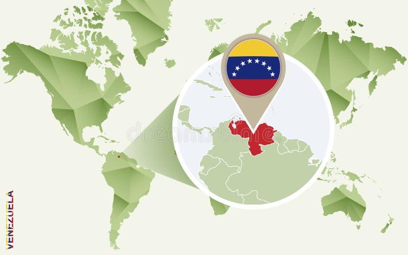 Infographic dla Wenezuela, wyszczególniająca mapa Wenezuela z flagą royalty ilustracja