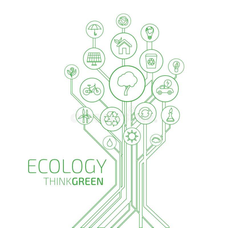 Infographic ecologie Denk Groen vector illustratie