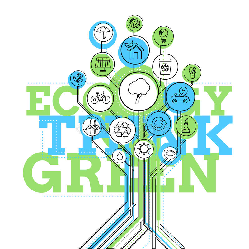 Infographic ecologie Denk Groen stock illustratie