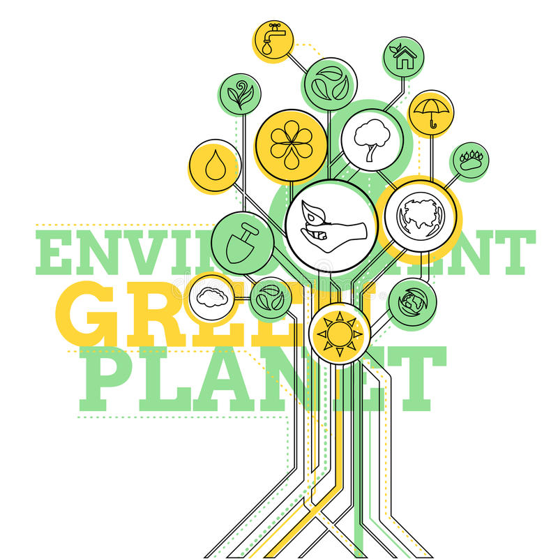 Infographic ecologie Milieu, Groene Planeet vector illustratie