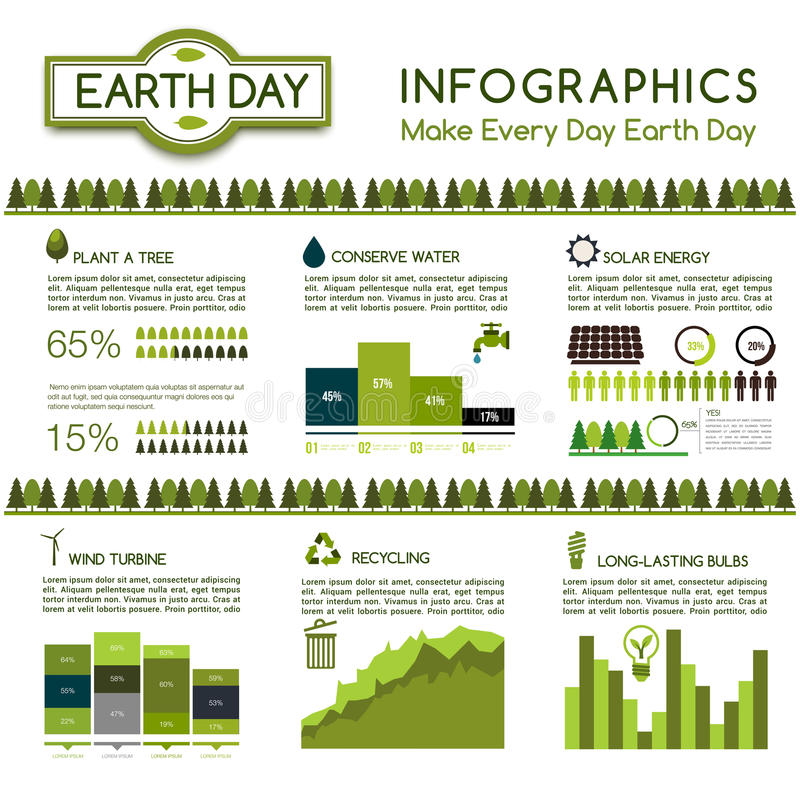 Infographic ecologiebescherming, het ontwerp van de Aardedag vector illustratie