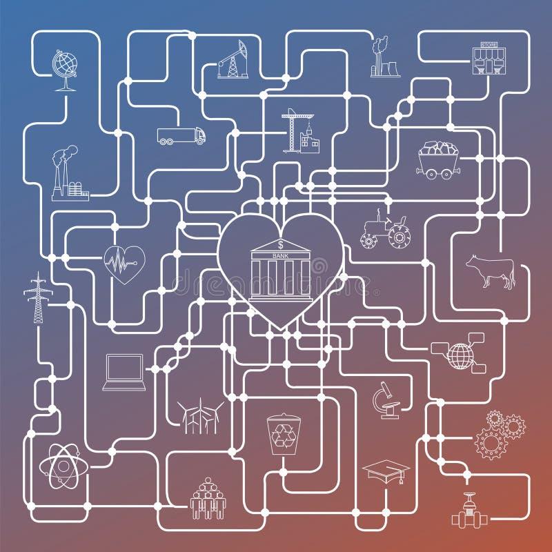 Infographic economie en financiën Investeringsprojecten banken e royalty-vrije illustratie