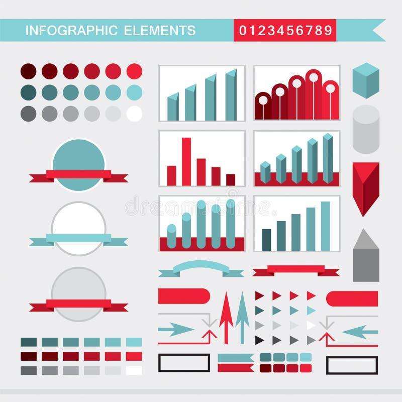 Infographic elementów mapy, wykres, diagram, strzały, podpisują, zakazują, guziki, granicy, etc ilustracji
