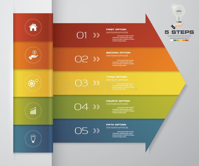 infographic Element des Pfeiles mit 5 Schritten für Darstellung lizenzfreie abbildung