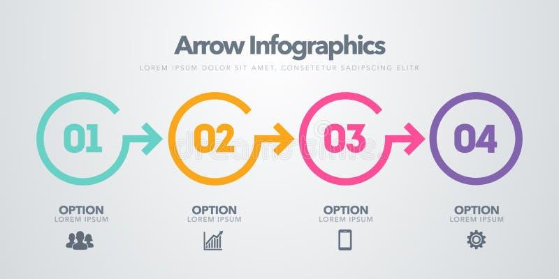 Infographic Element des Vektorgeschäfts Zeitachse mit 4 Kreisen, Schritte, Zahlwahlen lizenzfreie abbildung